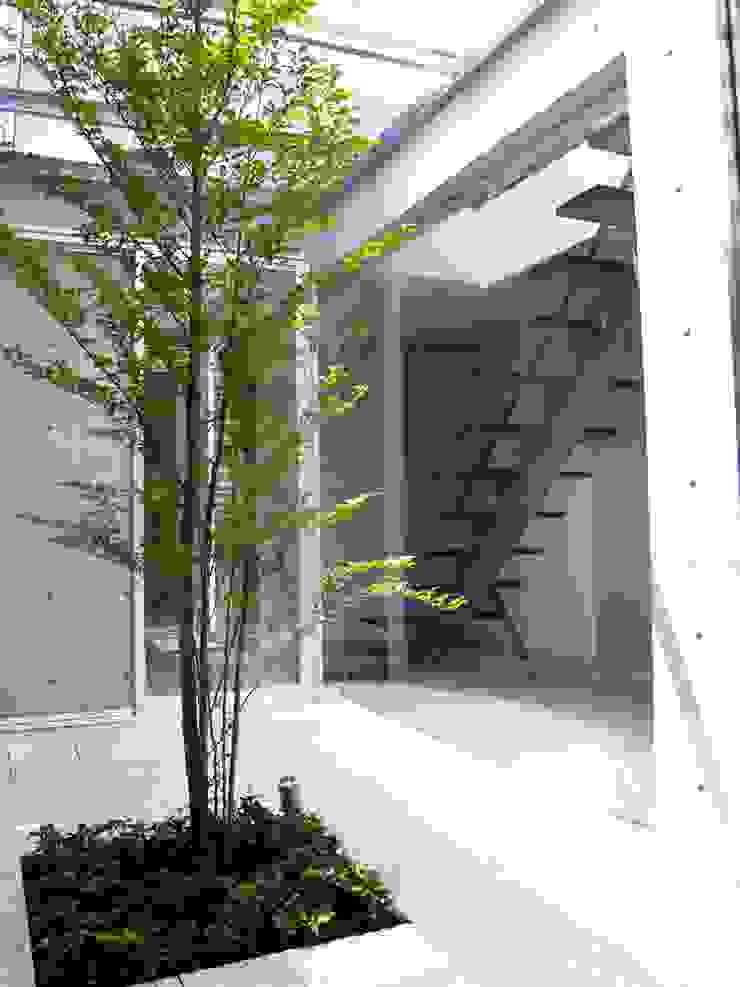 中庭から階段室を見る:       古津真一 翔設計工房一級建築士事務所が手掛けた現代のです。,モダン 石