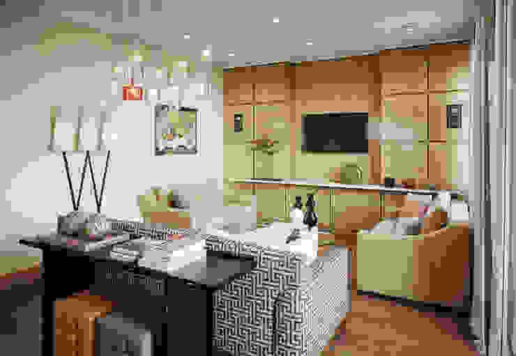 Квартира в ЖК Dominion Гостиные в эклектичном стиле от MARION STUDIO Эклектичный
