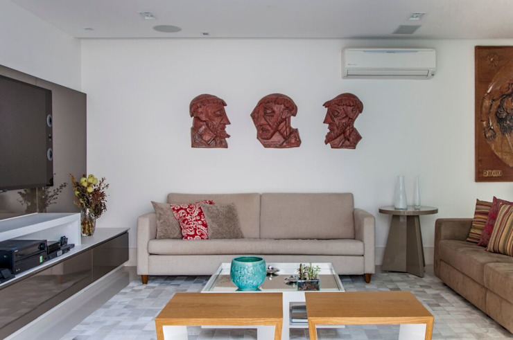 RESIDENCIA FAMILIAR SÃO CONRADO RJ Salas de estar modernas por AR Arquitetura & Interiores Moderno