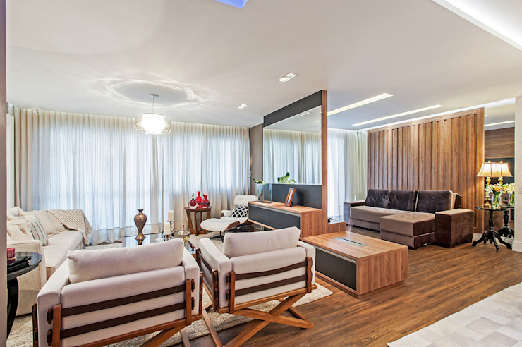 Modern Living Room by Patrícia Azoni Arquitetura + Arte & Design Modern Wood Wood effect