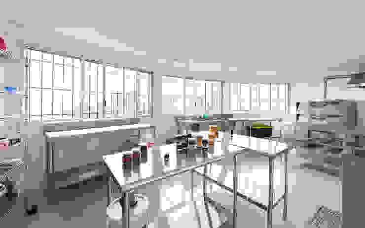 Centro de Producción de orgánicos Chilsec Cocinas rústicas de Komoni Arquitectos Rústico Metal