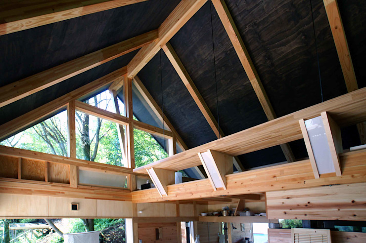 立体的な一室空間 和風デザインの ダイニング の 樋口善信建築計画事務所 和風