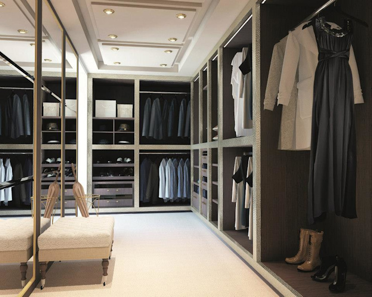 Designer Walk In Wardrobe : modern  by Bravo London Ltd, Modern Fake Leather Metallic/Silver