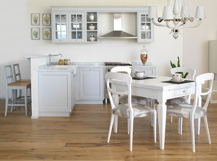 LA BOTTEGA DEL FALEGNAME Mediterranean style kitchen Solid Wood Grey