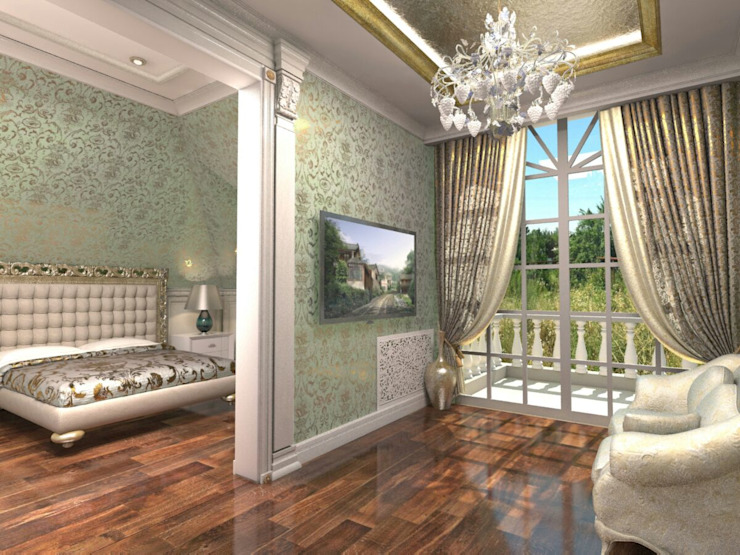 Современный классицизм Спальня в эклектичном стиле от Студия Маликова Эклектичный