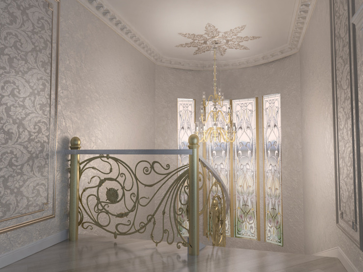 Classic style corridor, hallway and stairs by Студия Маликова Classic