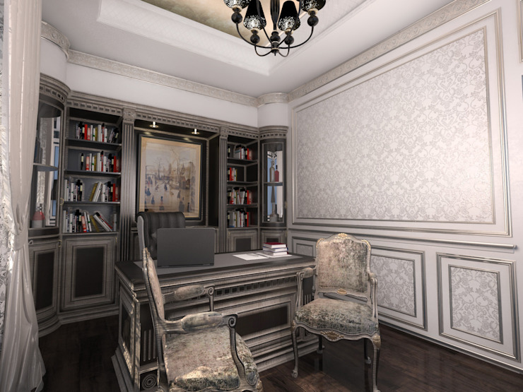 Ruang Studi/Kantor Klasik Oleh Студия Маликова Klasik