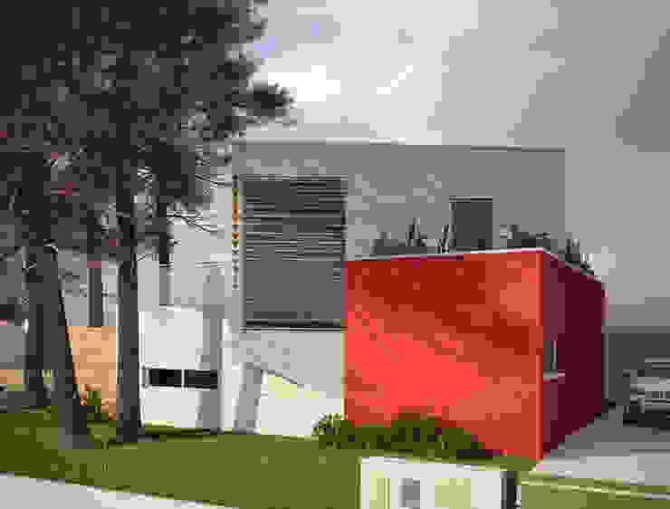 Alçado Principal da Moradia Casas modernas por Miguel Ferreira Arquitectos Moderno