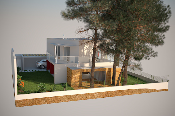 Alçado Lateral Esquerdo Casas modernas por Miguel Ferreira Arquitectos Moderno