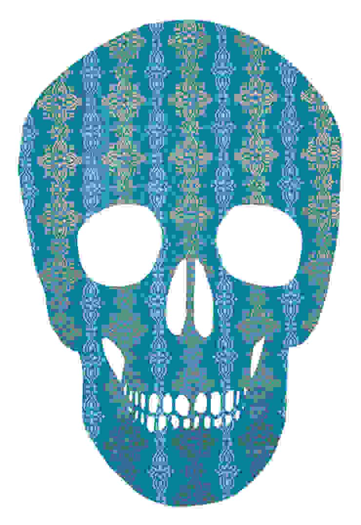 Blue & Gold SKull2 van MOoink Eclectisch Papier
