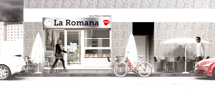 LA ROMANA | Gelateria - Creperia Espaços de trabalho minimalistas por Rúben Ferreira | Arquitecto Minimalista
