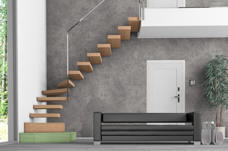 Progettazione di una scala per interni Progetto & Render Ingresso, Corridoio & Scale in stile minimalista