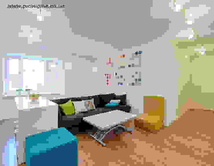Квартира-студия для молодой семьи Гостиная в скандинавском стиле от Tatyana Pichugina Design Скандинавский