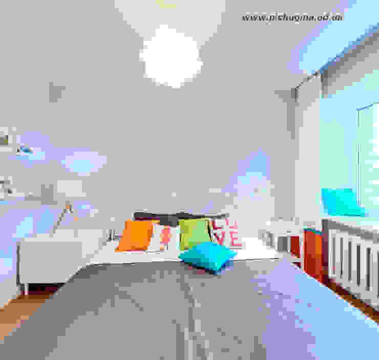 Квартира-студия для молодой семьи Спальня в скандинавском стиле от Tatyana Pichugina Design Скандинавский