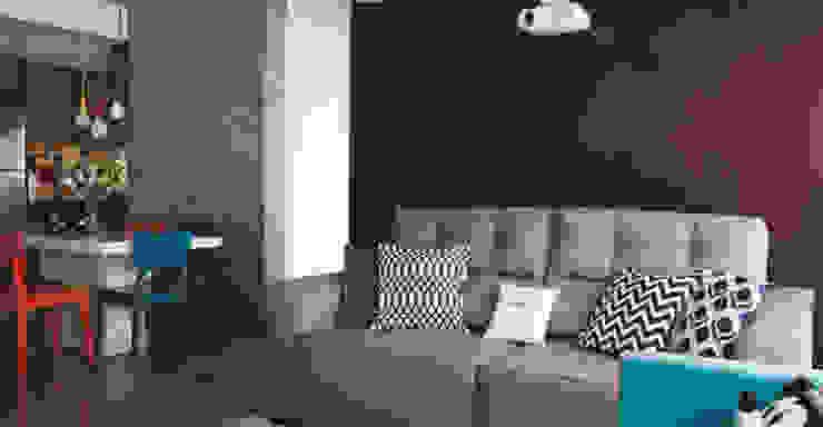 Cimento e muita cor no apartamento personalizado Salas de estar modernas por Lima Orsolini Arquitetura e Interiores Moderno