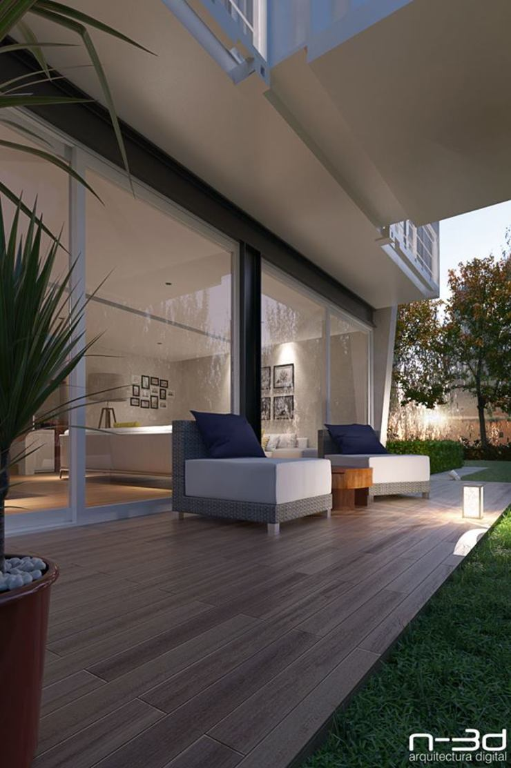 Modern balcony, veranda & terrace by N-3D / ARQUITECTURA DIGITAL Modern