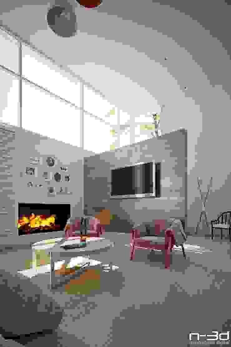 Modern living room by N-3D / ARQUITECTURA DIGITAL Modern