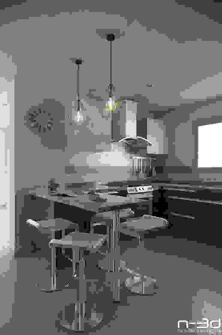 Modern kitchen by N-3D / ARQUITECTURA DIGITAL Modern