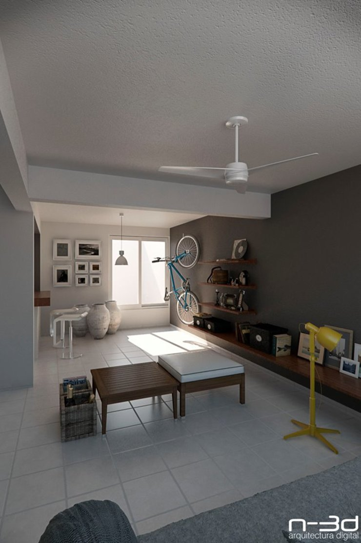 N-3d / arquitectura digital Salones modernos de N-3D / ARQUITECTURA DIGITAL Moderno