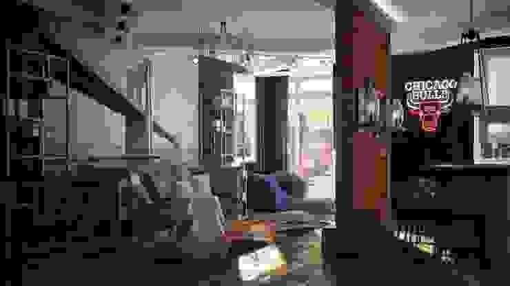 Гостиная-кухня Гостиная в стиле лофт от De Steil Лофт