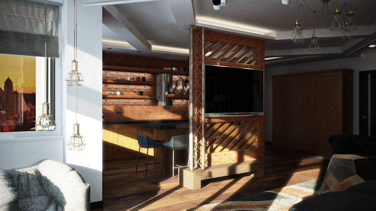 Гостиная-кухня Кухня в стиле лофт от De Steil Лофт