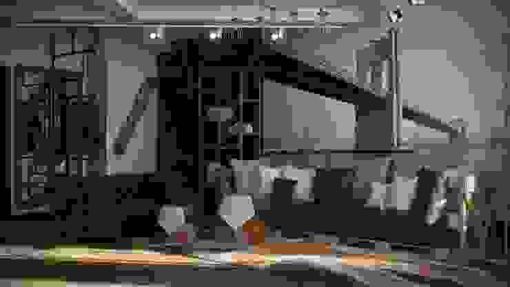 Квартира в стиле лофт, 70 м2 Гостиная в стиле лофт от De Steil Лофт