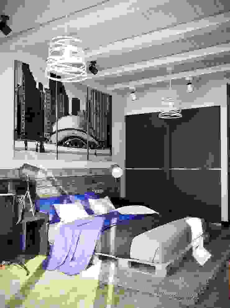 Квартира в стиле лофт, 70 м2 Спальня в стиле лофт от De Steil Лофт