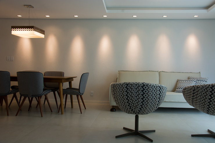 Sala de jantar e estar Salas de estar modernas por ARQ Ana Lore Burliga Miranda Moderno Têxtil Ambar/dourado