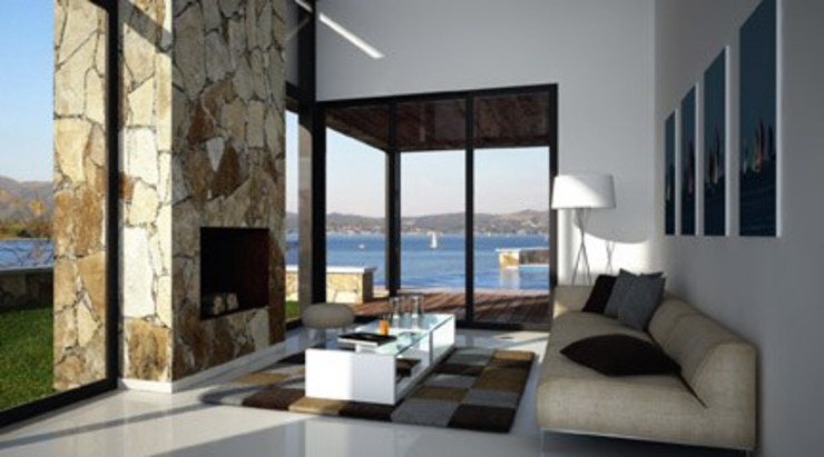 Project of small house by the lake Livings modernos: Ideas, imágenes y decoración de Rodriguez Pons & Partners Moderno