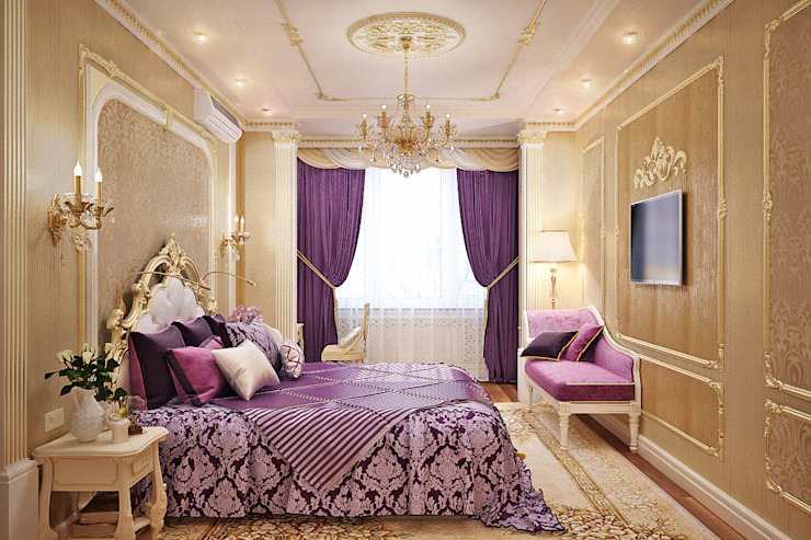 Фиолетовое настроение для спальни в классическом стиле: Спальни в . Автор – Студия дизайна Interior Design IDEAS