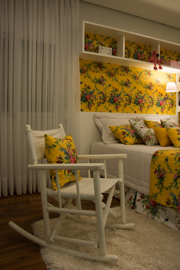cabeceira quarto menina por ARQ Ana Lore Burliga Miranda Campestre Têxtil Ambar/dourado