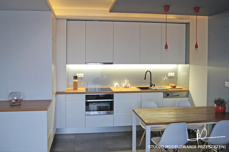 nowoczesne i przytulne mieszanie Nowoczesna kuchnia od Studio Modelowania Przestrzeni Nowoczesny