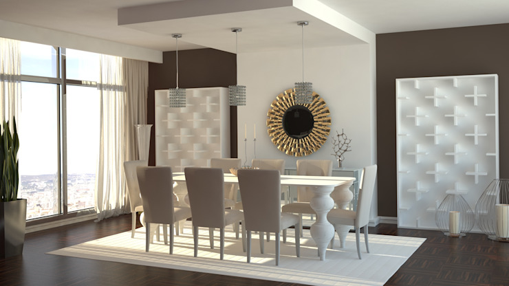 Propuesta 3D - Diseño de Comedor Moderno. Comedores de estilo moderno de Gabriela Afonso Moderno Madera Acabado en madera
