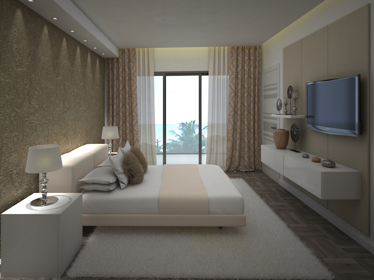 Propuesta 3D - Diseño de Habitaciones para Quinta Ubicada en Miami - Florida. Cuartos de estilo moderno de Gabriela Afonso Moderno Madera Acabado en madera