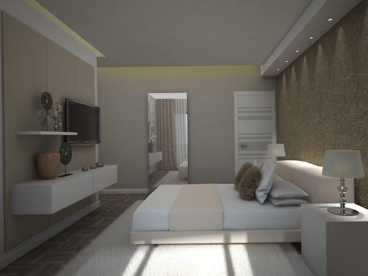 Propuesta 3D - Diseño de Habitaciones para Quinta Ubicada en Miami - Florida. Gabriela Afonso Cuartos de estilo moderno Madera Beige