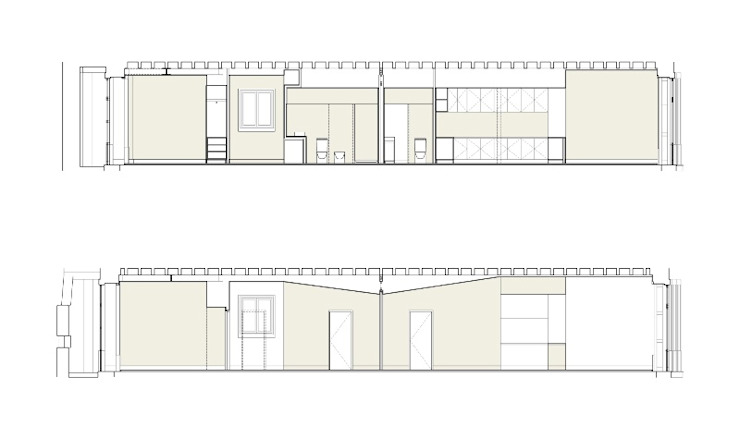CORTES LONGITUDINAIS COLECTIVO arquitectos Paredes e pisos minimalistas
