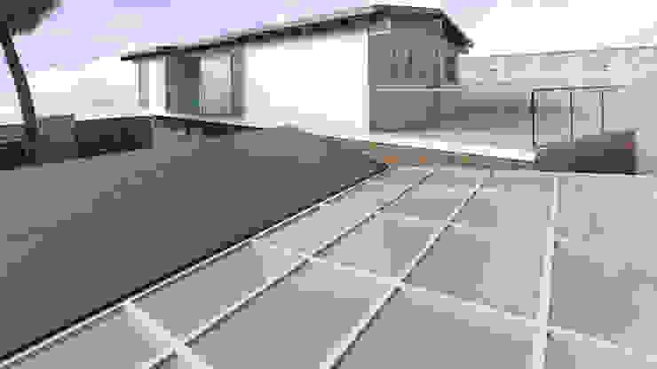 Diseño de Terraza y Techos Gabriela Afonso Balcones y terrazas de estilo moderno Piedra Marrón