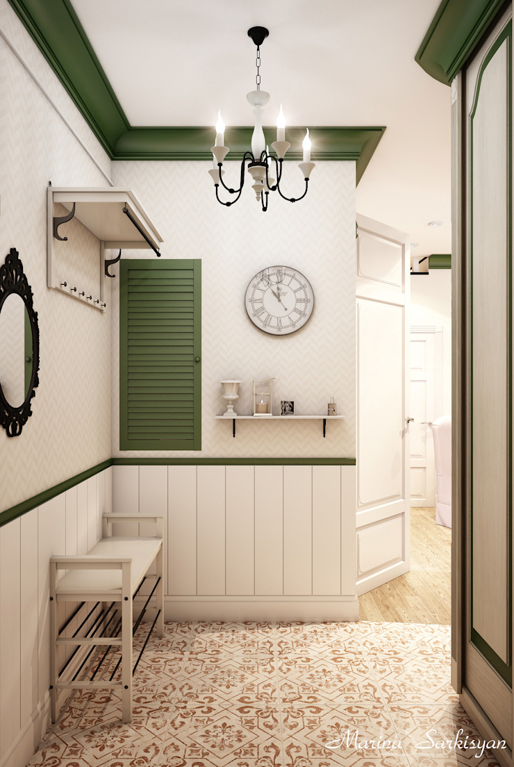 Country style corridor, hallway& stairs by Marina Sarkisyan Country
