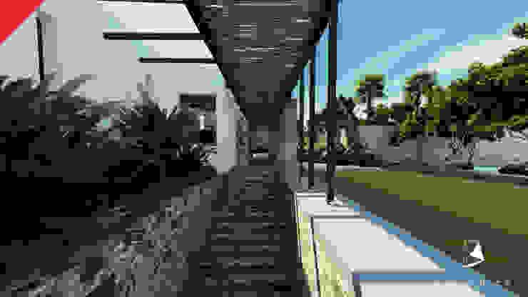 Casa de Campo Tempoal Pasillos, vestíbulos y escaleras minimalistas de Tectónico Minimalista