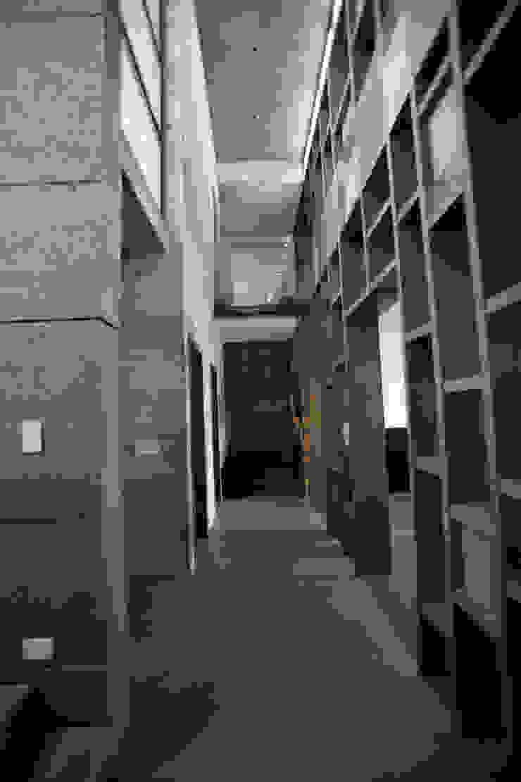 Hall en planta baja de doble altura Pasillos, vestíbulos y escaleras modernos de WRKSHP arquitectura/urbanismo Moderno Madera Acabado en madera