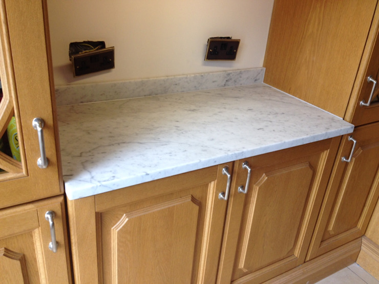 Honed Carrara Marble Classic style kitchen by Marbles Ltd Classic
