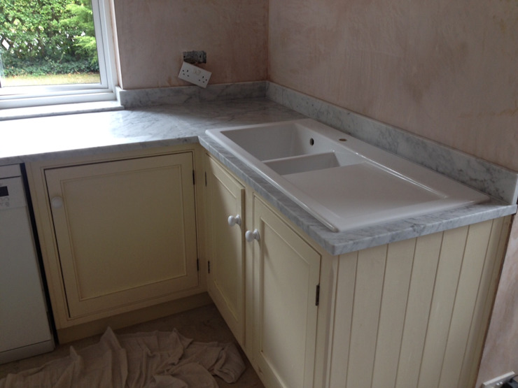 Honed Carrara Marble Country style kitchen by Marbles Ltd Country