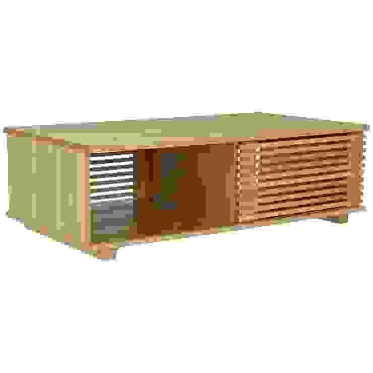 Oryginalny stolik kawowy Putney - przesuwne drzwiczki od onemarket.pl Skandynawski Drewno O efekcie drewna