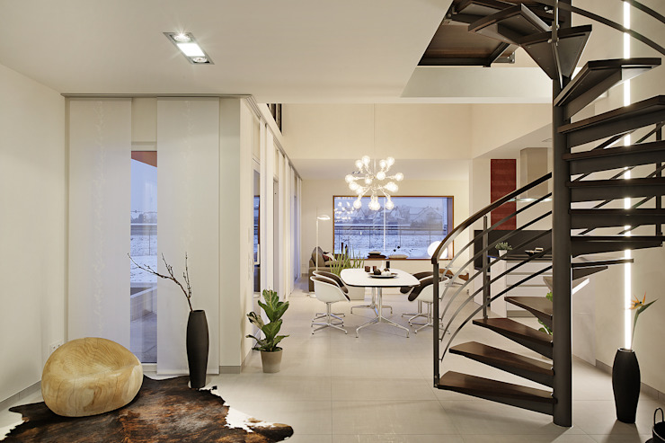 Lopez-Fotodesign Modern corridor, hallway & stairs White