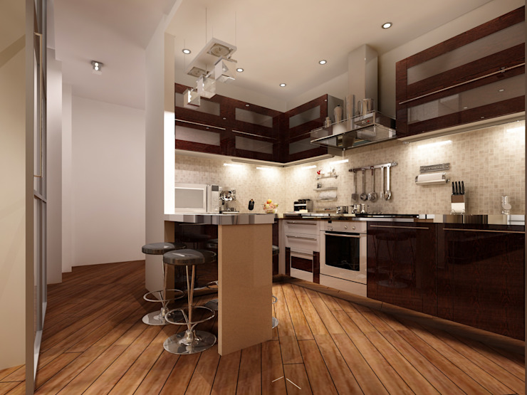 Перепланировка из двушки в трешку Кухня в стиле модерн от Скулков Павел Модерн