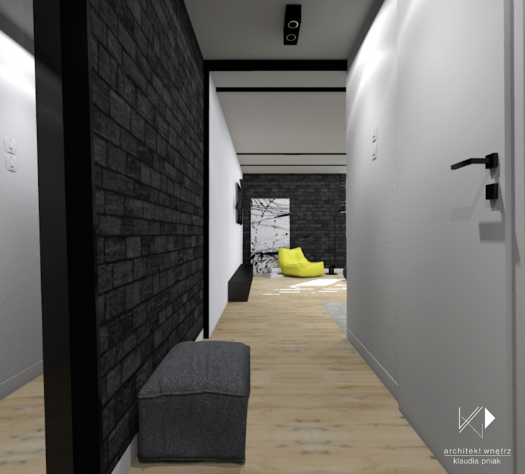 Mieszkanie,Kraków,47m2 Industrialny korytarz, przedpokój i schody od Architekt wnętrz Klaudia Pniak Industrialny