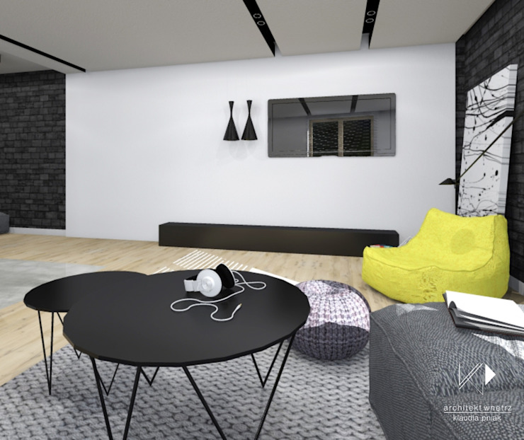 Mieszkanie,Kraków,47m2 Industrialny salon od Architekt wnętrz Klaudia Pniak Industrialny