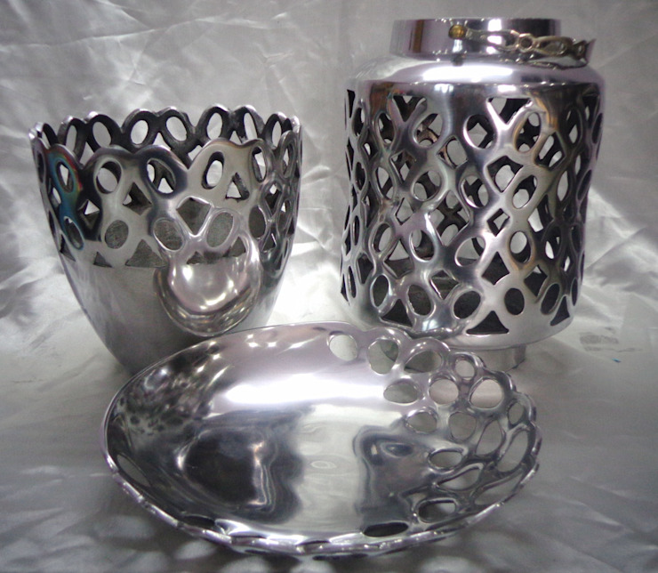 Geometrically Perforated Set of Vase, Tray & Lantern: modern  by Overseas Trading Corporation,Modern Aluminium/Zinc