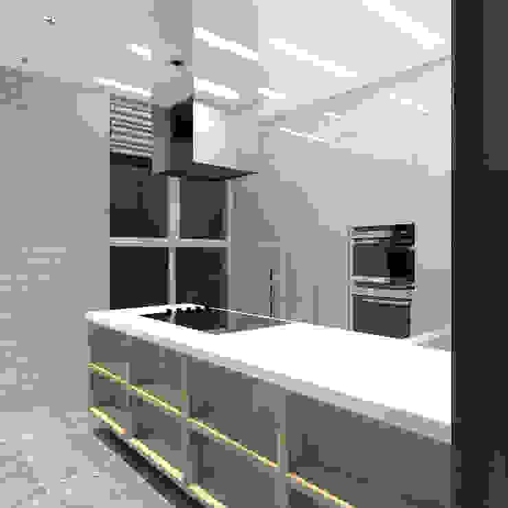 Минималистический лофт в жилом комплексе 'Ньютон. Москва, 2015 Кухня в стиле лофт от CHM architect Лофт