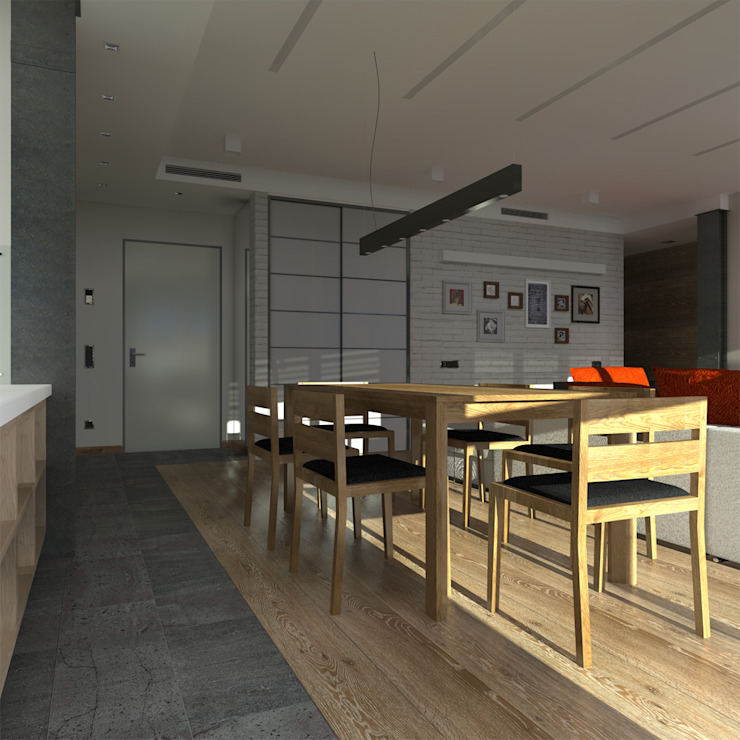 Минималистический лофт в жилом комплексе 'Ньютон. Москва, 2015 Столовая комната в стиле минимализм от CHM architect Минимализм